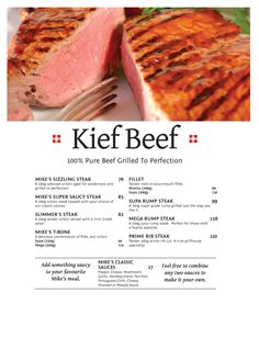 Kief Beef Halaal - Pure Beef Grilled to Perfection Rump Steak, 100 Pure, Grilling, Menu, Pure Products, Classic, Kitchen, Food, Menu Board Design