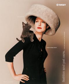 Fashion and pet care.   Cat bed as a stylish hat.  A memorable ad with humor.
