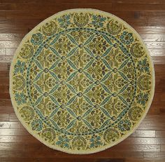 New 8' Round Hand Knotted Floral Ivory Suzani Oriental Rug One of a Kind MC145