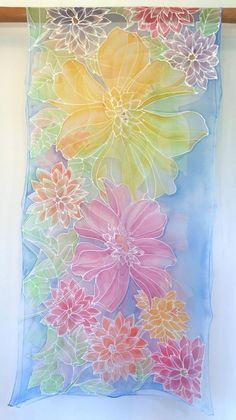 Rainbow Wildflower Meadow Shawl Wrap, Made to order Hand Painted Dress, Hand Painted Fabric, Painted Clothes, Painted Silk, Silk Shawl, Chiffon Shawl, Silk Chiffon, Batik Art, Wedding Shawl
