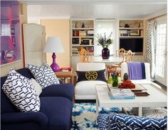 The shades of blue in this room are so great (minus the tie-dye rug) #homedecor #wayfairCouponsCode #dealdiscount4u