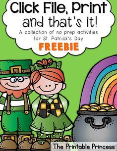 FREEBIE! St. Patrick's day no-prep printable pack.