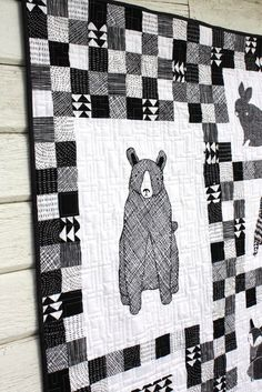 Thicket Black and White Baby Quilt