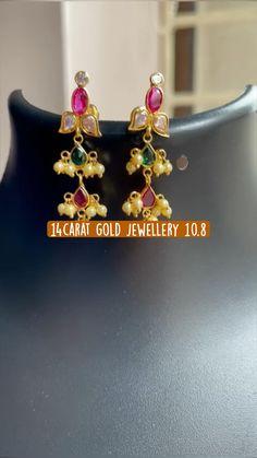 Silver Jewellery Indian, Ethnic Jewelry, Beaded Jewelry, Silver Jewelry, Gold Earrings Designs, Gold Jewellery Design, Gold Jewelry Simple, Simple Necklace, Hyderabadi Jewelry