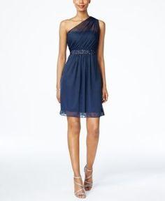 Cool Junior Bridesmaid Dresses Adrianna Papell One-Shoulder Embellished Dress - Blue 14...