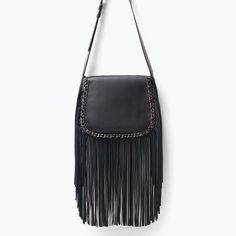 Image 1 of LEATHER MESSENGER BAG WITH FRINGING from Zara Fringe Handbags bb7c342bcb6f5