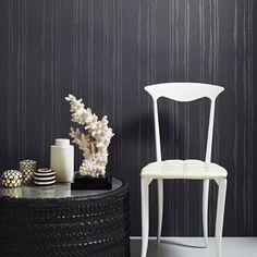 Laddered Stripe Wallpaper in Midnight design by Kelly Hoppen for Graham & Brown