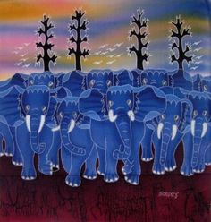 Blue elephants in Indonesian batik picture
