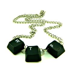 How cute is this?  Unisex Necklace Recycled Computer Keyboard WTF. $17.50, via http://www.etsy.com/shop/TheCraftyPandaGirl