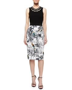 Sleeveless Neck-Cutout Tank & Tropical-Print Midi Skirt by Milly at Neiman Marcus.