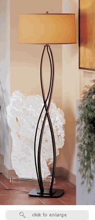 Hubbardton Forge Wrought Iron Almost Infinity Floor Lamp with three shade options. Rustic Lighting, Outdoor Lighting, Bankers Lamp, Iron Table, Unique Lamps, Wrought Iron, Wall Sconces, Infinity, Floor Lamps