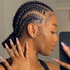 Feed In Braids Hairstyles, Braided Hairstyles For Black Women, Baddie Hairstyles, Braids For Black Hair, African Hairstyles, Girl Hairstyles, 2 Feed In Braids, Curly Hair Styles, Natural Hair Styles