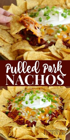 This Pulled Pork Nachos Recipe is a delicious twist on traditional nachos! You use shredded pork, barbecue sauce, shredded cheese, and tortilla chips. Can add sour cream and green onions if you wish. #nachos #appetizers #porkrecipes