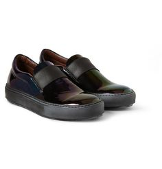 HANS OIL IRIDESCENT LEATHER SLIP-ON SNEAKERS by Acne Studios