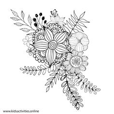 Free Coloring Pages For Adults - Flower, Mandala ⋆ Kids Activities Teddy Bear Coloring Pages, Rose Coloring Pages, Mothers Day Coloring Pages, Spring Coloring Pages, Doodle Coloring, Mandala Coloring Pages, Free Coloring, Adult Coloring Pages, Coloring Books