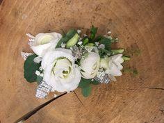 Ladies corsage - ivory flowers - lisianthus - gypsophila-eucalyptus- ladies buttonhole -Mother of the bride flowers