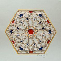"Six layers hand-cut paper. Image from ""Islamic Geometric Patterns,"" Eric Broug, Papercut of Pattern from Qarawiyyin Mosque, Morocco Islamic Art Pattern, Arabic Pattern, Geometry Pattern, Geometry Art, Pattern Art, Rug Patterns, Geometric Drawing, Geometric Rug, Moroccan Art"
