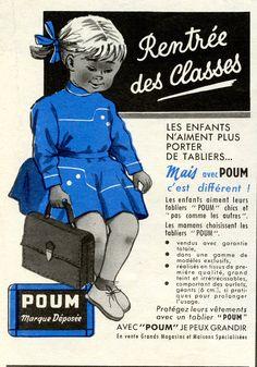 """Modes et Travaux n° 705 - Septembre 1959 - c'est la rentrée ! - publicité pour les tabliers Poum """"chics et pas comme les autres"""""""