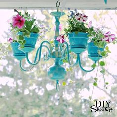Chandelier makeover from BH&G --- this would be cute on the patio or under the trees!
