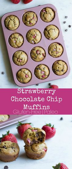 """Traditional fresh strawberry muffins get a chocolate upgrade! These Paleo baked muffins are exactly what you and your kids want to eat on a busy weekday morning. Scrumptious easy to store and freeze nutritious and easy to make! Loses With Water """"Hack"""" Paleo Breakfast, Breakfast Recipes, Free Breakfast, Breakfast Ideas, Paleo Muffin Recipes, Free Recipes, Healthy Recipes, Fitness Models, Real Food Recipes"""