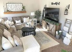 Home living room, living room with rug, small living room sectional, Small Living Rooms, Cozy Living, Home Living Room, Living Room Designs, Small Living Room Sectional, Small Living Room Layout, Small Family Rooms, Grey Sectional, Living Room No Fireplace