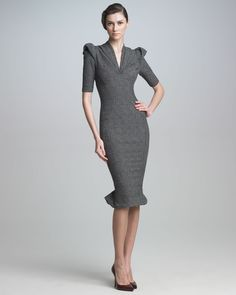 Sculpted Tweed Dress - Zac Posen (Shades of Gray Formal Medium Gray Silk Synthetic-blend Day To Night Evening Wool/cashmere Short sleeves Pleats Pencil Skirt)
