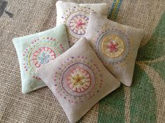 Embroidered Herbal Sachets by bluepeninsula, via Flickr
