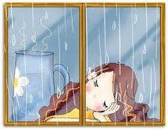 """""""Chuva no telhado pinga no lambrequim Embala meu sono tão doce, parece que chove pra mim..."""" (poemas: Marcia Pfleger)"""