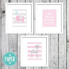 Fantastisch Jungle Safari / Zoo Nursery Art Print For Unisex Childrens Bedroom Or  Playroom 3 Pack Pink