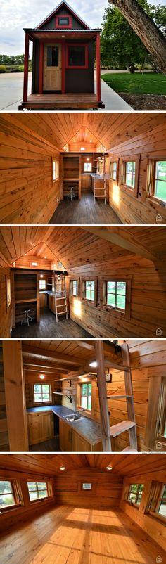 A custom beetle kill pine tiny house