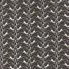 SALE - Black Cat and Skull Halloween Fabric - Eerie Fright Night by BasicGrey from Moda 1/2 Yard