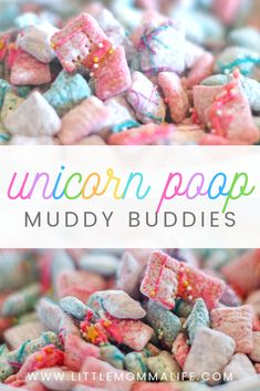 Unicorn Chex Mix Muddy Buddies This pretty, colorful, sweet Chex Mix treat is coated in candy melts and tossed in powdered sugar and cake mix. It's just as addictive and delicious as the original Muddy Buddy! Chex Mix Muddy Buddies, Muddy Buddies Recipe, Puppy Chow Recipes, Snack Mix Recipes, Snack Mixes, Cereal Recipes, Pink Puppy Chow Recipe, Recipes With Rice Chex, White Chocolate Puppy Chow Recipe