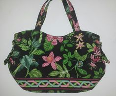 df03c102b83 Vera Bradley Purse BOTANICA Sherry Snap Closure Black Quilted Floral Retired  pattern. Sherry style purse