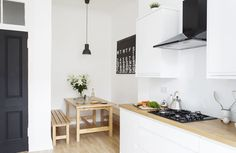 A pared-back colour scheme turned a garish Glasgow flat into a stylish home. Flat Interior Design, Flat Design, Home Decor Kitchen, Kitchen Interior, Kitchen Stuff, Kitchen Ideas, Kitchen Upgrades, Ikea Kitchen, Kitchen Designs