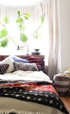 Boho bed...i love the colors