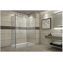 Aston Warwick Sliding Shower Enclosure with Right Base (Stainless Steel Finish) - Sam's Club Vigo Shower Doors, Shower Door Hardware, Bathtub Doors, Frameless Sliding Shower Doors, Frameless Shower Enclosures, Sliding Doors, Bathroom Cupboards, Bathroom Faucets, Bathrooms