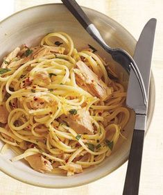 Lemony Tuna and Olive Oil Pasta | Shake up your usual dinner routine with these simple recipes for pastas, soups, meats, and more.