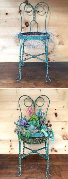 DIY Succulent Chair Planter.