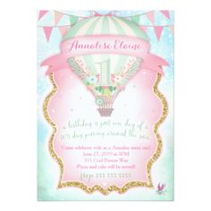 GC Hot Air Balloon First Birthday 5x7 Paper Invitation Card