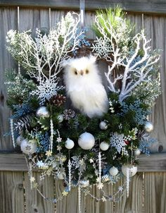 HUGE Snow Owl in the Winter Woods Christmas Wreath, by IrishGirlsWreaths, $159.99- *SOLD!*