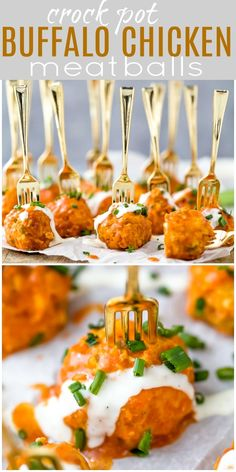 The Ultimate Crockpot Buffalo Chicken Meatballs - tender meatballs made with ground chicken, celery, carrots and green onion then covered in a spicy buffalo sauce! The lighter healthier version of your favorite buffalo wings! Spicy Appetizers, Chicken Appetizers, Appetizers For Party, Crock Pot Appetizers, Appetizer Recipes, Light Appetizers, Dinner Recipes, Thai Recipes, Snack Recipes