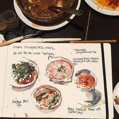 Last meal in Singapore....   by Liz Steel Art