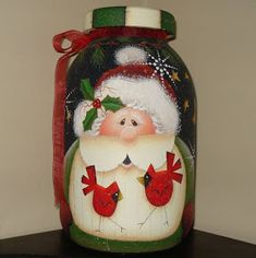 44 Affordable Holiday Decorating Tips-Part I Christmas Paintings, Christmas Art, Christmas Projects, Christmas Decorations, Christmas Ornaments, Holiday Decorating, Decorating Tips, Painted Wine Bottles, Painted Jars