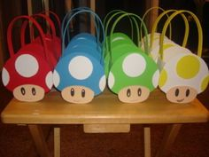 Super Mario party theme - What fun favor bags!