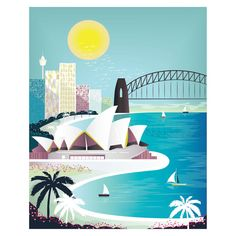 Sydney Print Sydney Skyline Wall Art Print Opera by lauraamiss Sydney Skyline, Sydney City, Tahiti, Travel Wall Decor, Wall Art Prints, Canvas Prints, Landscape Illustration, House Illustration, Destinations