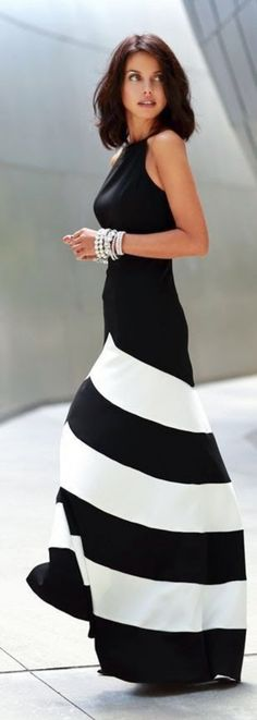 Nextshe 2014 new elegant black & white stripes off shoulder halter top maxi dress