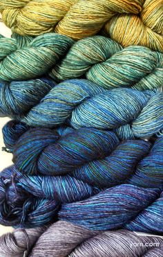 Pretty progression of Madelinetosh Tosh Merino Light colors. #yarn