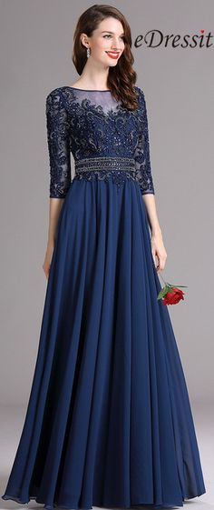 Carlyna Blue Illusion Formal Dress with Sweetheart Neckline