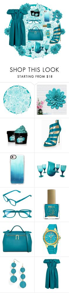 """""""Street Style Collection: Conspicuous Teal"""" by qstronomy ❤ liked on Polyvore featuring Stratton Home Décor, SkinCare, Carvela, Casetify, Corinne McCormack, ncLA, RED Valentino, Juicy Couture, BaubleBar and Paule Ka"""