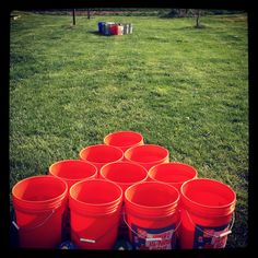 Our version of Giant Beer Pong. We call ours Beer Bucket! Our version of Giant Beer Pong. Cookout Games, Camping Games, Diy Yard Games, Backyard Games, Giant Beer Pong, Redneck Games, White Trash Party, Outside Games, Outdoor Parties